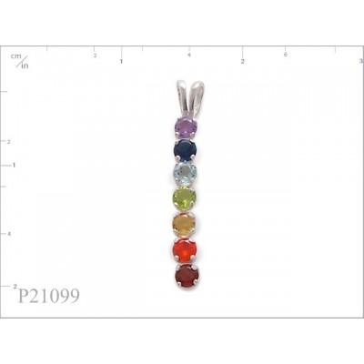 Stone Pendant, 7 mix colours round stones.