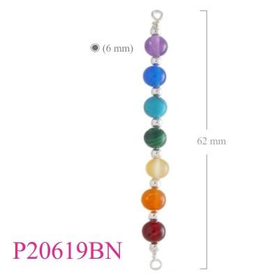 Stone Pendant, 6mm chaka beads.