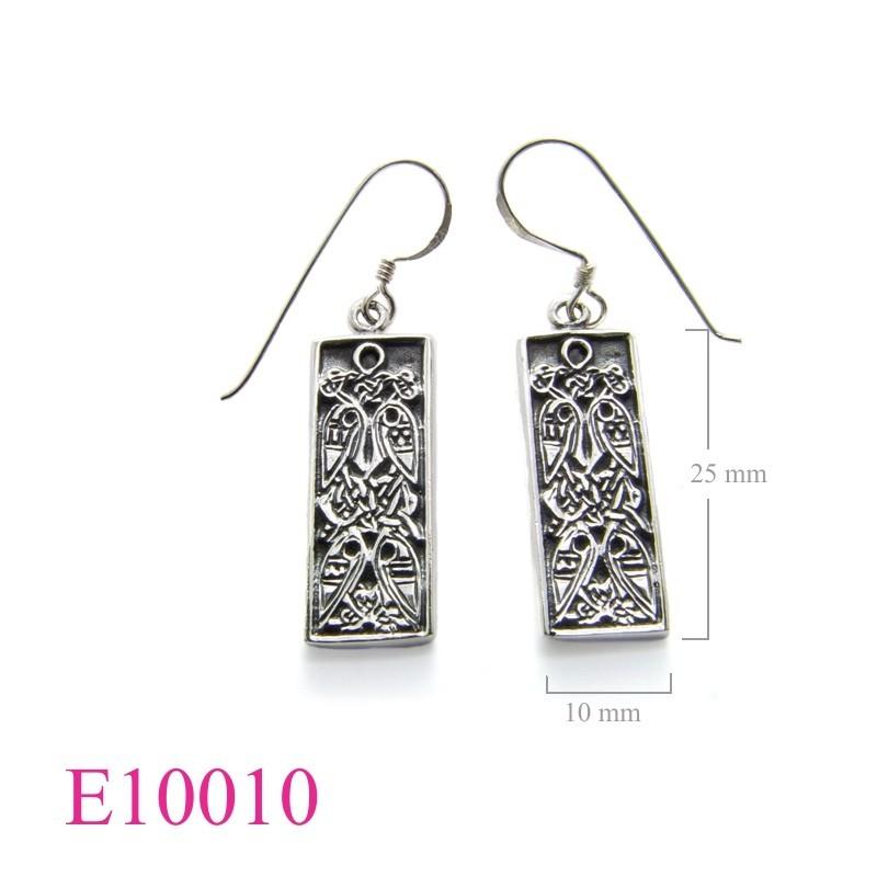 Earrings, celtic, rectangular.