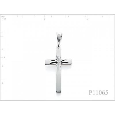 Pendant, 16x24mm cross with star diamond cut.
